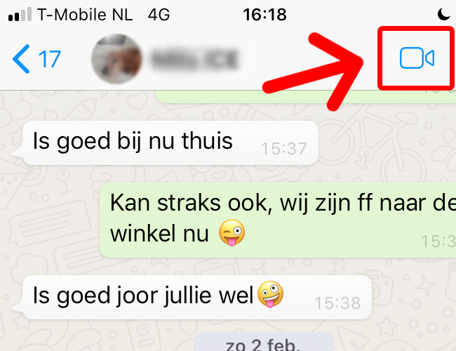 Videobellen via WhatsApp